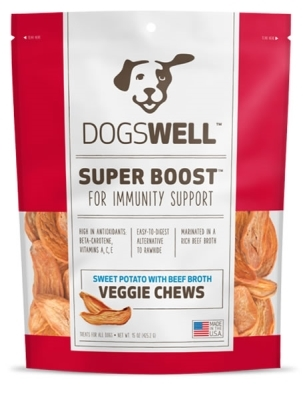 Dogswell Super Boost Veggie Chew Dog Treats, Beef, 15 oz