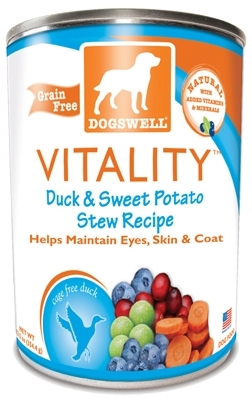 Dogswell Vitality Grain-Free Canned Dog Food, Duck & Sweet Potato Stew Recipe, 12.5 oz, 12 Pack