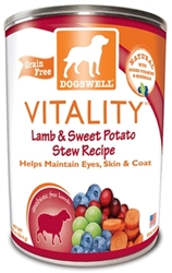 Dogswell Vitality Grain-Free Canned Dog Food, Lamb & Sweet Potato Stew Recipe, 12.5 oz, 12 Pack