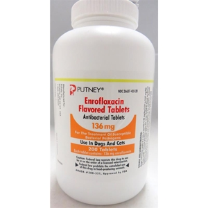 Enrofloxacin Flavored Tablets 136 mg, 100 Tablets