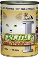 Felidae Grain-Free Cat and Kitten Canned Food, Chicken Turkey Lamb & Fish, 13 oz, 12 Pack