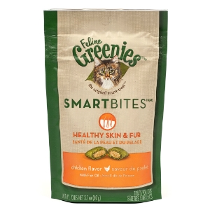 Feline Greenies SmartBites Healthy Skin & Fur Chicken Flavor, 2.1 oz