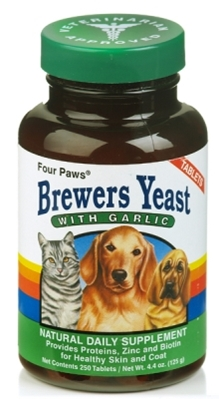 Four Paws Brewers Yeast Vitamin Tablets with Garlic for Dogs & Cats, 250 ct