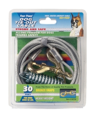 Four Paws Dog Tie-Out Cable, Heavy Weight, 15 ft