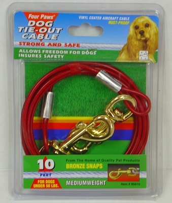 Four Paws Dog Tie-Out Cable, Medium Weight, 10 ft