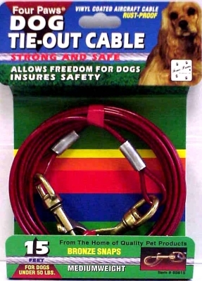 Four Paws Dog Tie-Out Cable, Medium Weight, 15 ft
