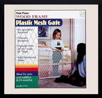 Four Paws Wood Frame Plastic Mesh Gate, 26 in X 44 in