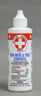 Gold Medal Pets Ear Mite & Tick Control Ear Drops for Dogs & Cats, 4 oz