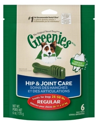 Greenies Hip & Joint Care Treat Pack for Regular Dogs, 6 oz, 6 ct
