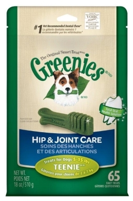 Greenies Hip & Joint Care Treat Pack for Teenie Dogs, 18 oz, 65 ct