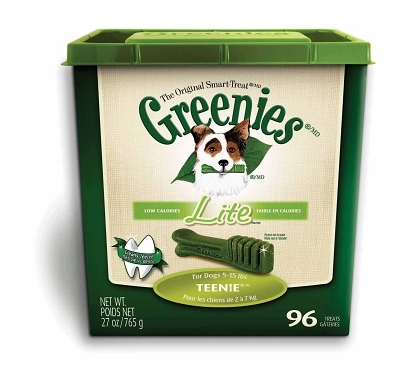 Greenies Lite Tub Treat Pack for Teenie Dogs, 27 oz, 96 ct