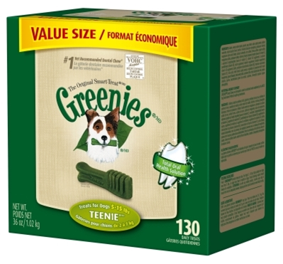 Greenies Value Tub Treat Pack for Teenie Dogs, 36 oz, 130 ct