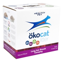 Healthy Pet Okocat Natural Wood Clumping Cat Litter for Long Hair Breeds, 13.5 lbs