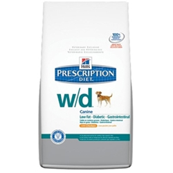 Hills Prescription Diet w/d Canine Low-Fat Glucose Management Gastrointestinal Dry Food with Chicken, 27.5 lbs