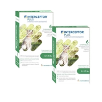 Interceptor Plus for Dogs 8.1-25 lbs Green, 12 Pack