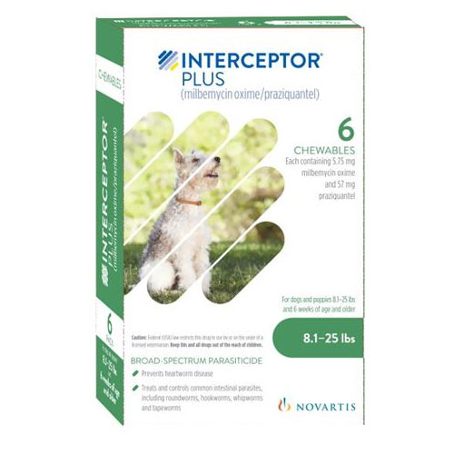 Interceptor Plus For Dogs 8 1 25 Lbs Green 6 Pack