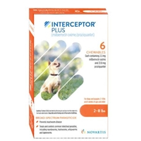 Interceptor Plus for Dogs 2-8 lbs Orange, 6 Pack