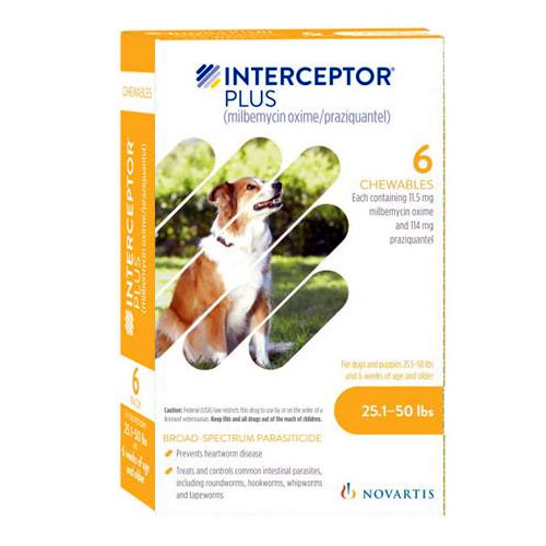 Interceptor Plus For Dogs 25 1 50 Lbs Yellow 6 Pack