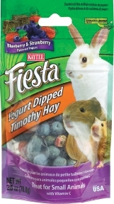 Kaytee Fiesta Yogurt Dipped Timothy Hay, Blueberry & Strawberry Yogurt, 2.5 oz