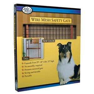 "Mahogany Wood Frame Wire Mesh Gate, 29.5"" X 32"""