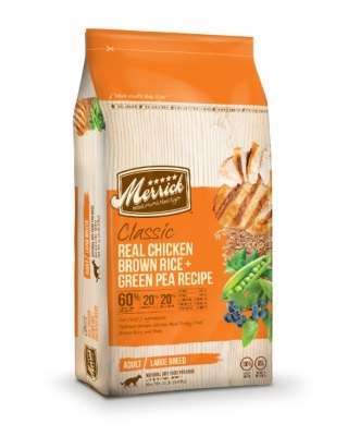 Merrick Classic Real Chicken with Brown Rice & Green Pea Large Breed Dry Dog Food Recipe, 15 lbs