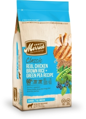 Merrick Classic Senior Real Chicken with Brown Rice & Green Pea Dry Dog Food Recipe, 5 lbs
