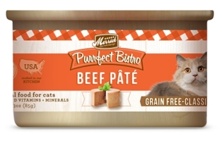 Merrick Grain-Free Purrfect Bistro Beef Pate Canned Cat Food, 3 oz, 24 Pack