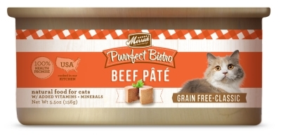 Merrick Grain-Free Purrfect Bistro Beef Pate Canned Cat Food, 5.5 oz, 24 Pack