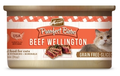 Merrick Grain-Free Purrfect Bistro Beef Wellington Canned Cat Food, 3 oz, 24 Pack