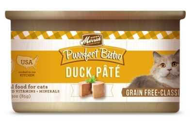 Merrick Grain-Free Purrfect Bistro Duck Pate Canned Cat Food, 3 oz, 24 Pack