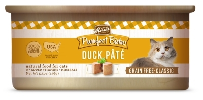 Merrick Grain-Free Purrfect Bistro Duck Pate Canned Cat Food, 5.5 oz, 24 Pack