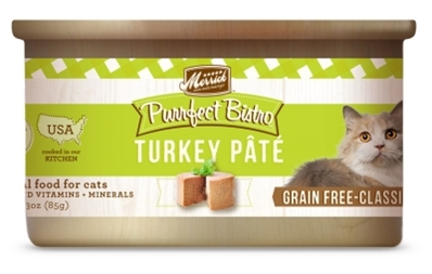 Merrick Grain-Free Purrfect Bistro Turkey Pate Canned Cat Food, 3 oz, 24 Pack
