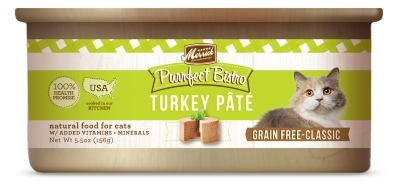 Merrick Grain-Free Purrfect Bistro Turkey Pate Canned Cat Food, 5.5 oz, 24 Pack