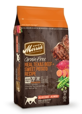 Merrick Grain-Free Real Texas Beef & Sweet Potato Dry Dog Food Recipe, 25 lbs