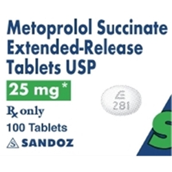 Metoprolol XL 25 mg, 100 Tablets