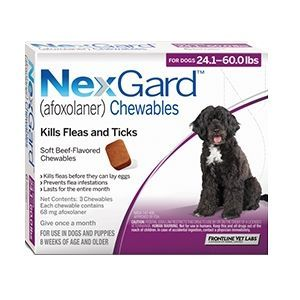 Nexgard for Dogs 24.1 - 60.0 lbs, 3 Month Supply