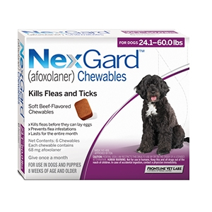 Nexgard for Dogs 24.1 - 60.0 lbs, 6 Month Supply