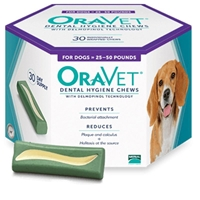 Oravet Dental Chews, 30 ct |  Medium Dogs 25 - 50 lbs