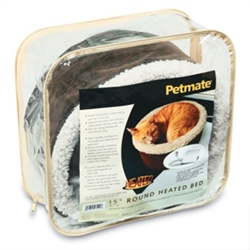 "Petmate 15 x 15"" Heated Bed, Bomber Leather"
