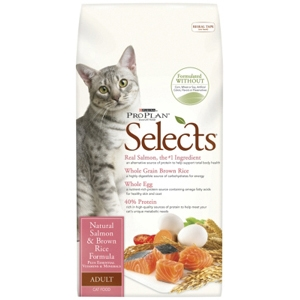 Pro Plan Selects Cat Food Natural Salmon & Brown Rice, 7 lb - 5 Pack
