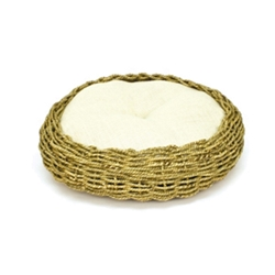 "Seagrass and Burlap Round Bed, 16"" x 16"""