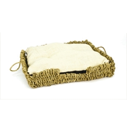 "Seagrass and Burlap Square Bed, 16.5"" x 12"""