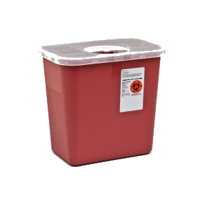 Sharps Container with Rotor Opening Lid, 2 gal