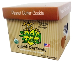 Snicky Snaks Organic Dog Treats, Peanut Butter Cookies, Small, 6 oz