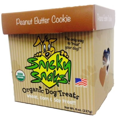 Snicky Snaks Organic Dog Treats, Peanut Butter Cookies, Small, 8 oz