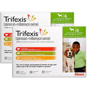 Trifexis For Dogs 20 1 40 Lbs 12 Chewable Tablets Green