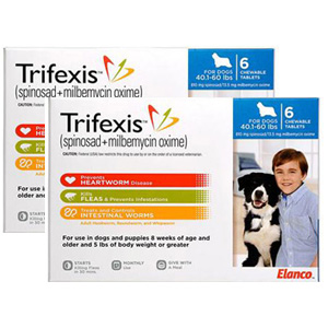Trifexis for Dogs 40.1-60 lbs, 12 Chewable Tablets (Blue)