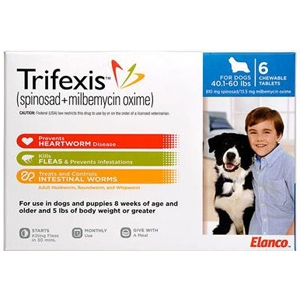Trifexis For Dogs 40 1 60 Lbs 6 Chewable Tablets Blue