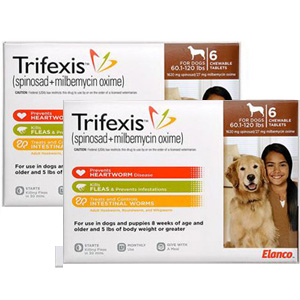 Trifexis for Dogs 60.1-120 lbs, 12 Chewable Tablets (Brown)
