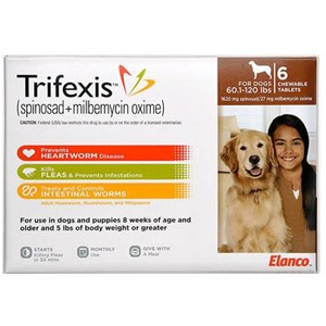 Trifexis for Dogs 60.1-120 lbs, 6 Chewable Tablets (Brown)